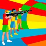 Jugador del tiroteo 2016 juegos del verano atleta isométrico de la pistola 3D Fotos de archivo libres de regalías
