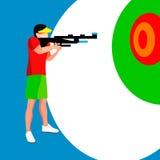 Jugador del tiroteo 2016 juegos del verano atleta isométrico de la pistola 3D Fotografía de archivo libre de regalías