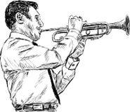 Jugador del trompetista Foto de archivo libre de regalías