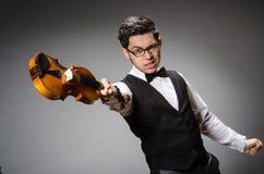 Jugador divertido del violín imagenes de archivo
