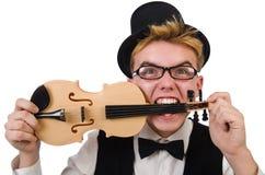 Jugador divertido del violín aislado en blanco fotos de archivo libres de regalías