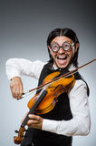 Jugador divertido del violín del violín Foto de archivo