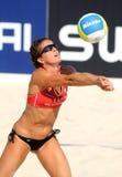 Jugador español Nadia Campisi del voleo de la playa Foto de archivo libre de regalías