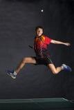 Jugador feliz en de largo el salto Imagen de archivo