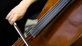 Jugador femenino del violoncelo que juega el violoncello Ciérrese para arriba de la mano de la mujer que toca el violoncelo almacen de metraje de vídeo