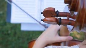 Jugador femenino del violoncelo que juega el violoncello Ciérrese para arriba de la mano de la mujer que toca el violoncelo almacen de video