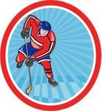 Jugador Front With Stick Cartoon del hockey sobre hielo Foto de archivo