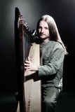 Jugador irlandés de la arpa Arpista del músico Foto de archivo