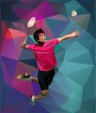 Jugador joven del bádminton durante choque ilustración del vector