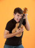 Jugador joven del ukulele Imagen de archivo libre de regalías