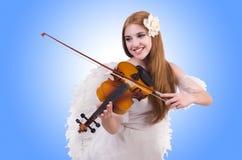Jugador joven del violín aislado Imagen de archivo libre de regalías