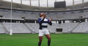 Jugador masculino del rugbi que juega el partido del rugbi en el estadio 4k metrajes