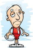 Jugador mayor del rugbi de la historieta triste Imágenes de archivo libres de regalías