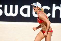 Jugador norteamericano Jennifer Kessy del voleo de la playa Imagen de archivo