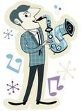 Jugador retro del saxofón Imagenes de archivo