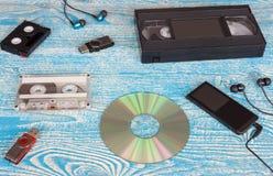 Jugador y casetes de música foto de archivo