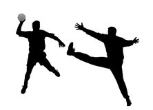 Jugador y portero del balonmano Imagen de archivo libre de regalías