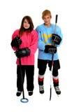 Jugadores adolescentes de Ringette y de hockey Imágenes de archivo libres de regalías