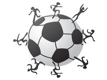 Jugadores alrededor del fútbol Stock de ilustración