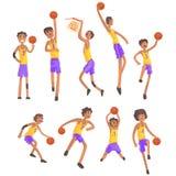 Jugadores de básquet del mismo Team Action Stickers Foto de archivo libre de regalías