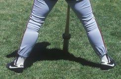 Jugadores de béisbol profesionales en la práctica de bateo, parque de la palmatoria, San Francisco, CA Fotografía de archivo