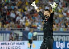 Jugadores de Demirel Volkan en juego del calificador del mundial de Rumania-Turquía Foto de archivo libre de regalías