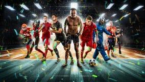 Jugadores de diversos deportes en la representación del estadio 3D del vollayball Foto de archivo libre de regalías