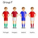 Jugadores de equipo de fútbol Grupo F - Portugal, Hungría, Islandia y Austria Imagen de archivo