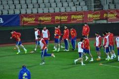 Jugadores de equipo nacional españoles del fútbol durante el calentamiento Foto de archivo libre de regalías