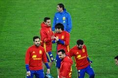 Jugadores de equipo nacional españoles del fútbol durante el calentamiento Imagen de archivo libre de regalías