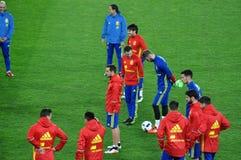 Jugadores de equipo nacional españoles del fútbol durante el calentamiento Fotografía de archivo libre de regalías