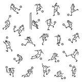 Jugadores de fútbol con los iconos de la bola fijados Colección de minimalistic Imagenes de archivo