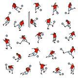 Jugadores de fútbol con los iconos de la bola fijados Colección de minimalistic Fotografía de archivo libre de regalías