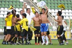 Jugadores de fútbol de los peruvian del ganador Foto de archivo libre de regalías