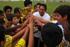 Jugadores de fútbol de los peruvian del ganador Imagen de archivo libre de regalías