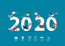 2020 jugadores de fútbol del Año Nuevo en la acción en letras grandes planas stock de ilustración