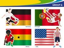 Jugadores de fútbol del vector con el grupo G del Brasil 2014 Foto de archivo libre de regalías