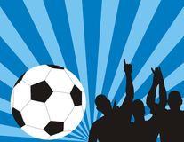 Jugadores de fútbol en backgro azul Foto de archivo libre de regalías