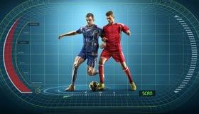 Jugadores de fútbol en la acción en el fondo de exhibición interactivo Imágenes de archivo libres de regalías