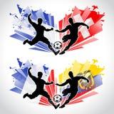 Jugadores de fútbol que representan países stock de ilustración