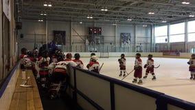 Jugadores de hockey jovenes en el hielo metrajes