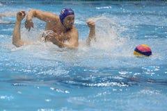 Jugadores de polo del agua que luchan para la bola Imagen de archivo