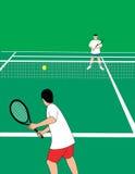 Jugadores de tenis en el campo de tenis Ilustración del Vector