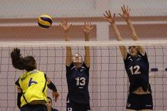 Jugadores de voleibol de las mujeres en la acción Fotografía de archivo libre de regalías