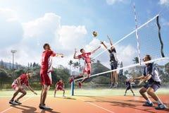 Jugadores de voleibol profesionales en la acción en la corte Fotografía de archivo libre de regalías
