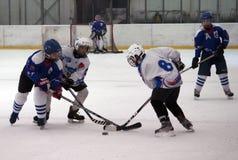 Jugadores del hockey sobre hielo en la acción Imagenes de archivo