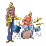 Jugadores del jazz stock de ilustración