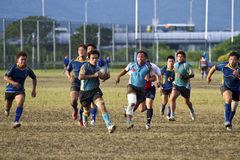 Jugadores del juego de rugby Fotografía de archivo libre de regalías