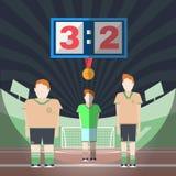 Jugadores del partido de fútbol en el Playfield con la medalla libre illustration