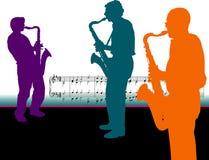 Jugadores del saxofón con las notas de la música   Imágenes de archivo libres de regalías